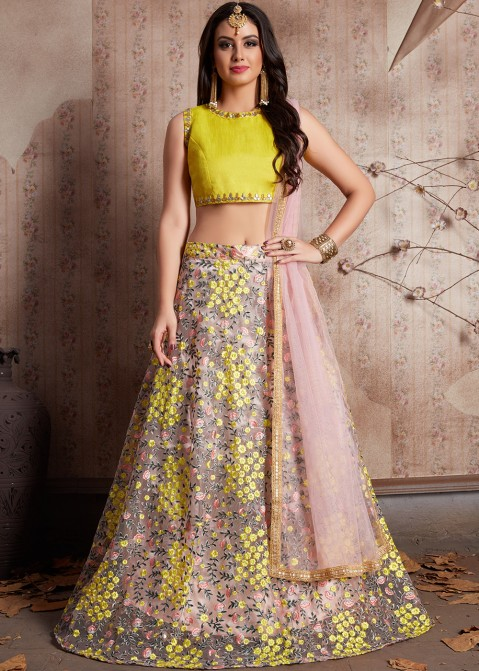 6d1100e8c77 Light Pink Embroidered Indian Net Lehenga Choli Online Shopping in USA