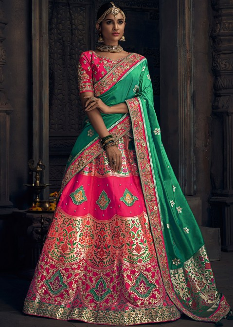 b5e07894b6 Bridal Lengha: Buy Pink Embroidered Banarasi Silk Indian Lehenga Choli  Online