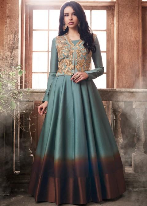 442901cdcbb4 Grey Abaya Style Art Silk Salwar Suit with Vest Jacket 1839SL02