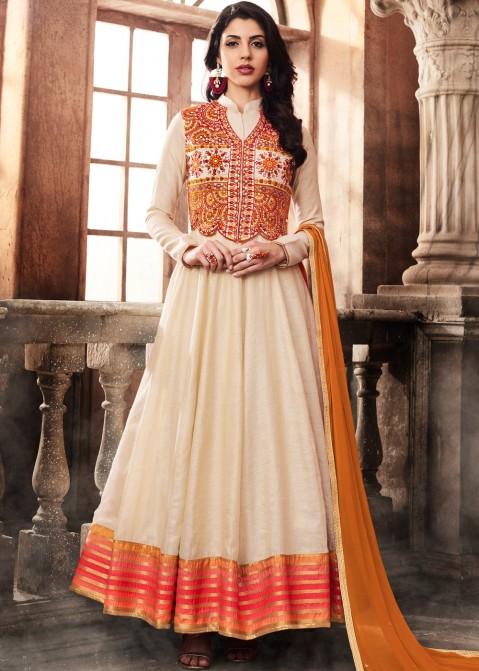 37ae649bae Cream Abaya Style Art Silk Salwar Suit with Vest Jacket 1839SL04