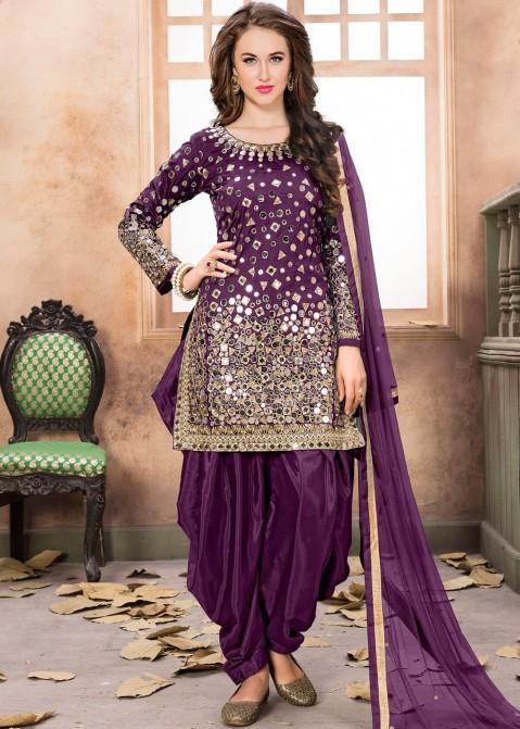 795e5efe85 Indian Dresses for Women: Buy Purple Art Silk Punjabi Salwar Suit with  Dupatta