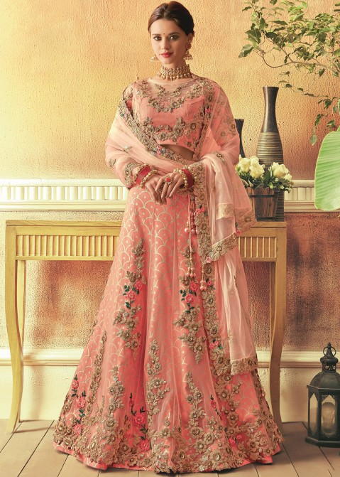 730380b201 Coral Peach Embroidered Art Silk Net Lehenga Choli Online Shopping in USA