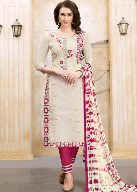 eca2348b7 Off White Straight Cut Embroidered Salwar Suit with Dupatta 1852SL10