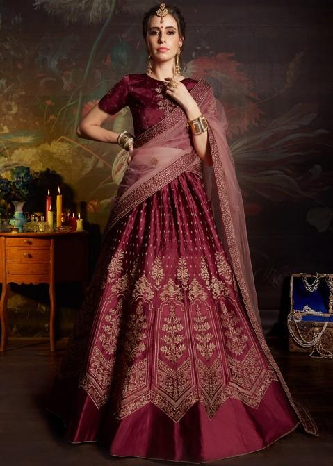 3e2bb86508 Maroon Embroidered Satin Bridal Lehenga Choli 1855LG05