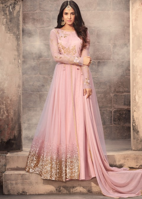 3547a6d95c80e Sonal Chauhan Pink Net Abaya Style Layered Suit Scinitllating Suits ...