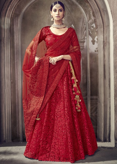 0668ad3d65 Red Net Embroidered Designer Bridal Lehenga Choli Online Shopping in USA