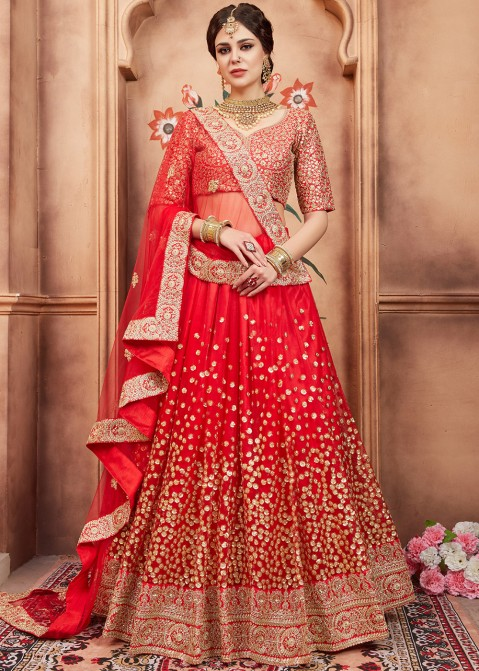 3b1e09d898 Red Sequins Embellished Designer Bridal Lehenga Choli Online Shopping