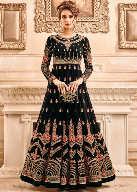 20082fb2a4 Black Embroidered Georgette Anarkali Salwar Suit with Dupatta Salwar Kameez  1872SL03