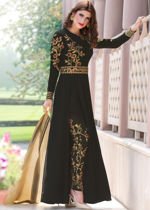 d943bef665e Black Georgette Pant Suit with Dupatta. Indian Designer Dresses  Buy Black  Georgette Pant Salwar Suit Online