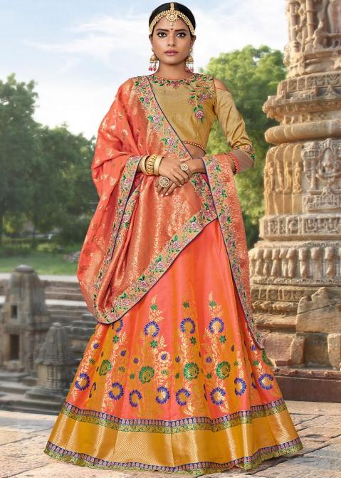 185589b05e Orange Art Banarasi Silk Woven Lehenga Choli 1888LG03