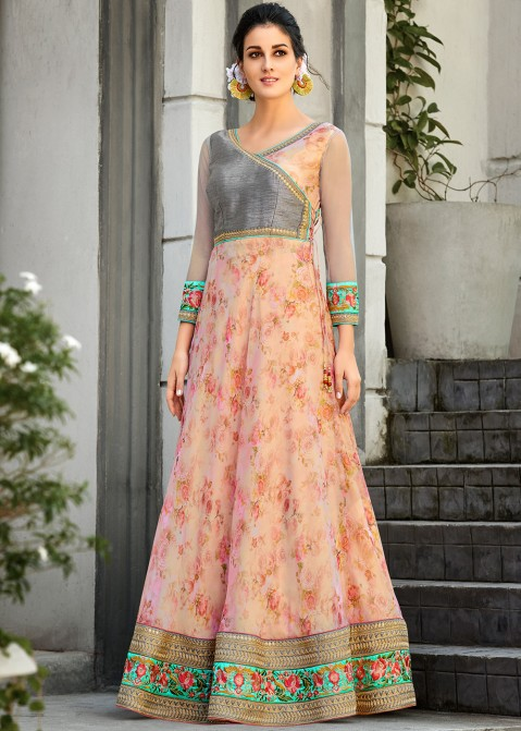 1fb3de20a7 Buy Pink Floral Digital Print Organza Silk Readymade Indian Gowns Online