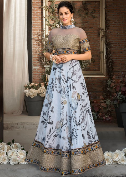 202d6145065 Buy Blue Digital Print Organza Silk Readymade Indian Gowns Online USA