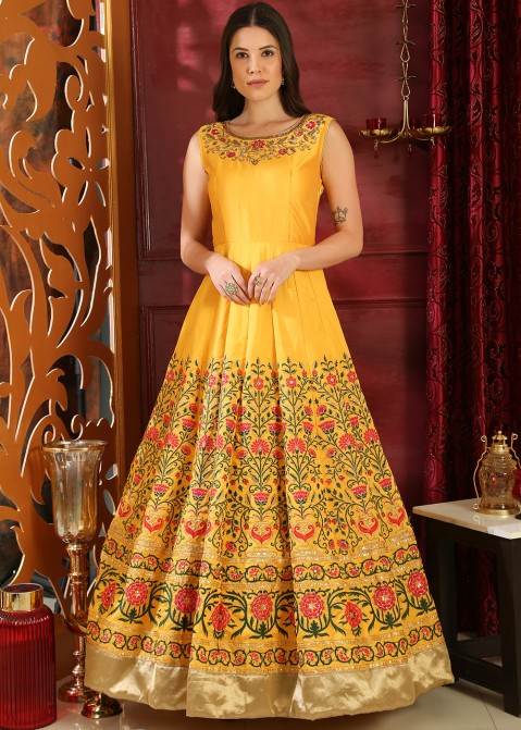 498b80a5fd Buy Readymade Yellow Art Silk Embroidered Indian Gowns for Party Online