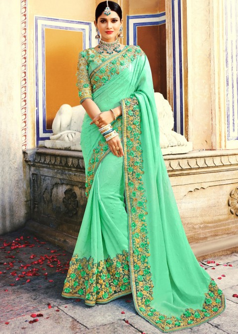 44ef264f1550b Sea Green Embroidered Art Silk Indian Saree USA With Blouse online Shopping