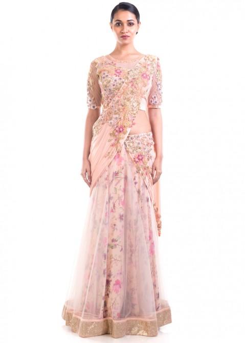 d78bc6bab03fa Pastel Pink Embroidered Lehenga Style Saree 2009SR04