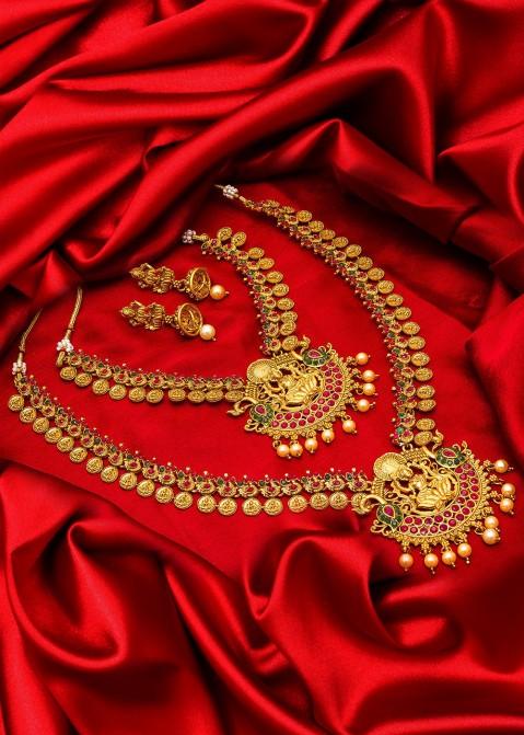 Stone Studded Golden Layered Traditional Necklace Set Latest 203jw02