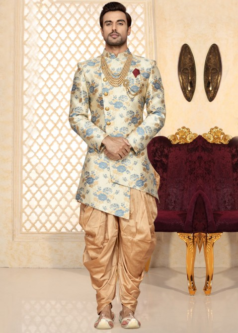 1a29058daf Indian Groom Outfit: Buy Off-White Asymmetrical Sherwani Dress Online With  Dhoti