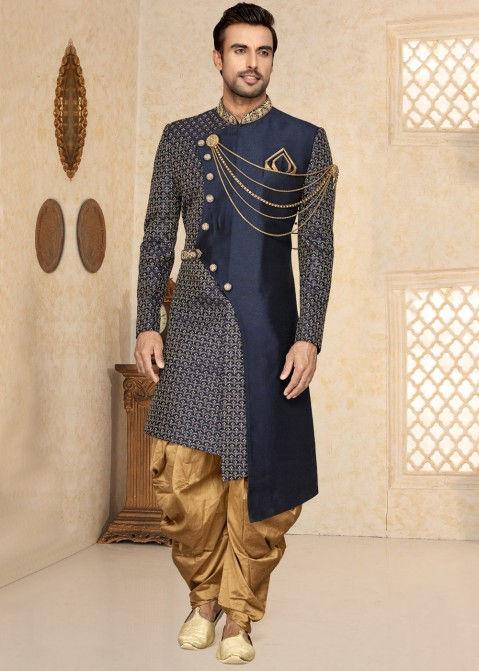 8325ac8f4a0b4e Indo Western for Men: Buy Navy Blue Asymmetrical Sherwani Online With Dhoti