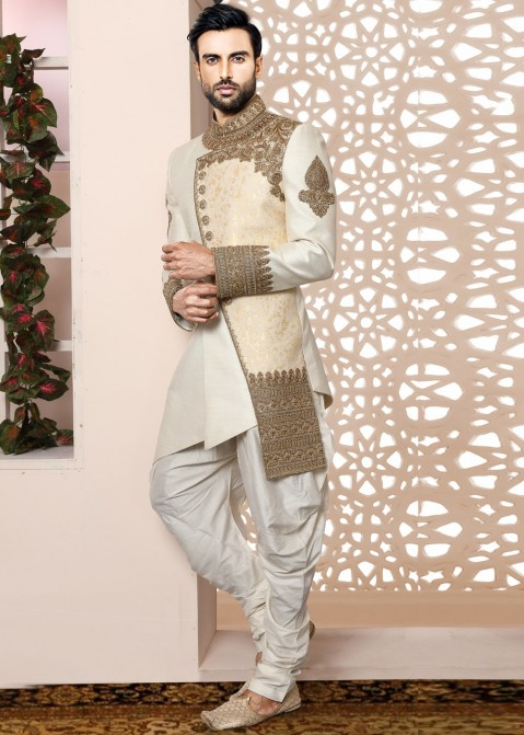 e6e161e6a9ba Indian Sherwani  Buy Off-White Embroidered Indo Western Sherwani Online