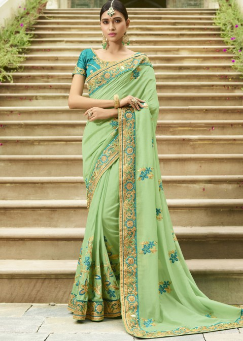 31c04f6d04 Pastel Green Embroidered Art Silk Party Wear Saree Shopping online