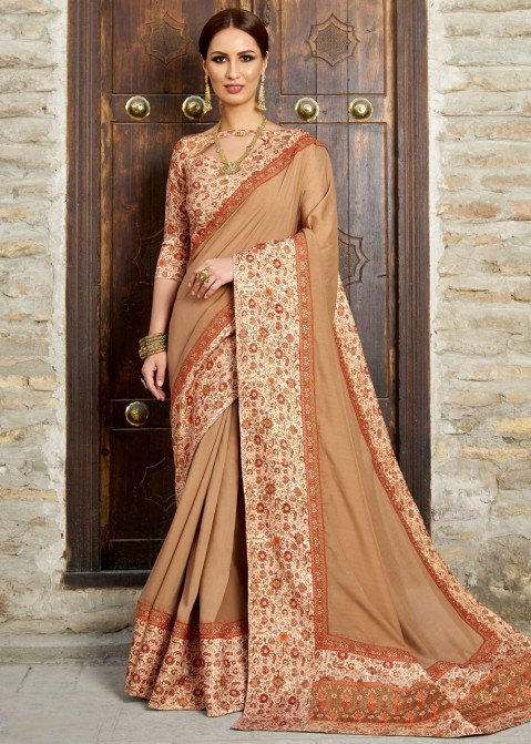 984a82186 Light Brown Bhagalpuri Silk Saree With Blouse Saree 2071SR07