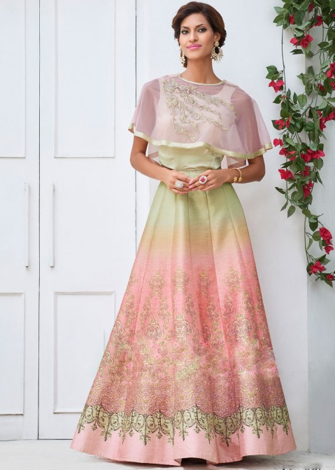 b6228737cc Green and Peach Art Silk Printed Anarkali Suit with cape 1326SL08