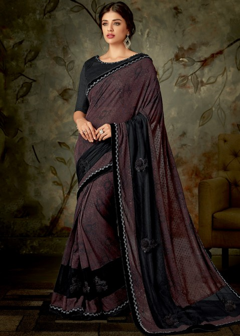 281f8b8a06c7f Brown Lycra Saree With Blouse