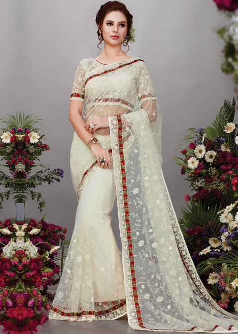 73c49c3276fc8a Buy Off White Net Embroidered Party Wear Indian Sarees Online Shopping