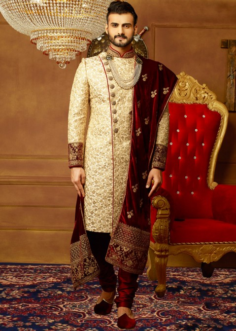 03e27c867d Sherwani for Men: Buy Cream Art Banarasi Silk Embroidered Wedding Sherwani