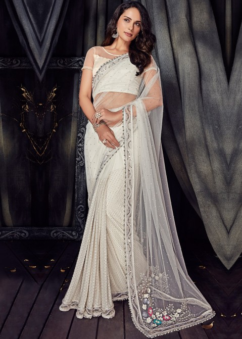 c7628d475c3e8 White Embroidered Net Saree online Shopping USA