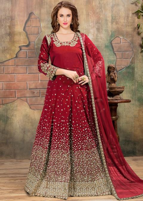 d2741ca955 Bridal Salwar Kameez - Buy Red Heavy Embroidered Abaya Style Suit Online  USA,UK
