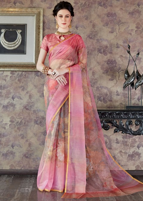 811a64d179b Pink Floral Printed Organza Silk Saree Most Loved Styles 2199SR01