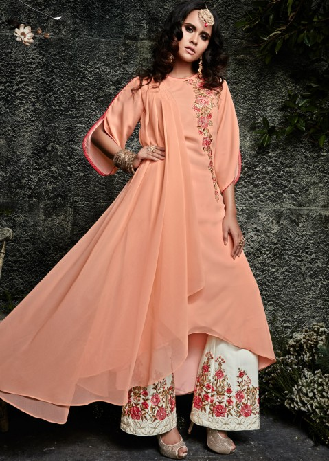 b18ca0605b8 Peach Embroidered Georgette Palazzo Suit 2226SL02