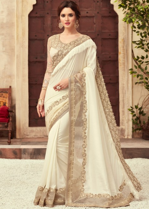 eaeaf11c653 Off-White Embroidered Art Silk Indian Sarees Online Shopping USA