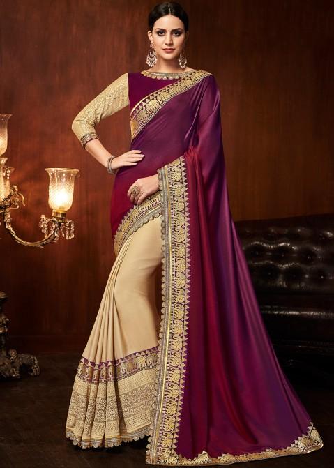 a037a1259a5616 Cream And Purple Heavy Border Art Silk Saree 2232SR15