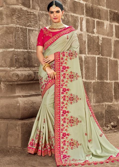 530dc3a5a2 Pista Green Embroidered Art Silk Saree 2260SR02