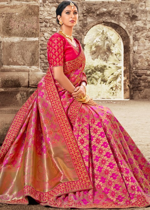 6460ca2fefccc7 Neon Pink Embroidered Art Silk Indian Sarees Collection