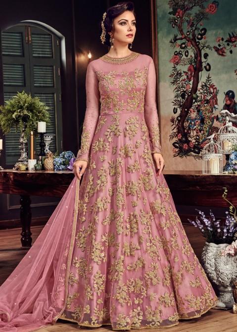 e7b591f9c2e44 Indian Designer Dresses: Buy Pink Net Abaya Style Suits Online USA