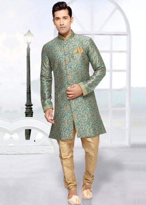 d6bbbc8c8 Buy Readymade Beige Indo Western Wedding Sherwani for Men Online