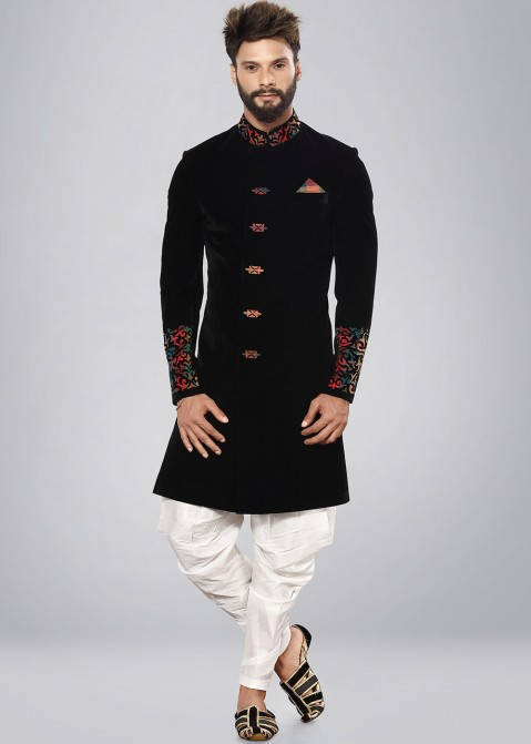 64599fee65010 Sherwani for Men: Buy Black Readymade Indo Western Wedding Sherwani Online