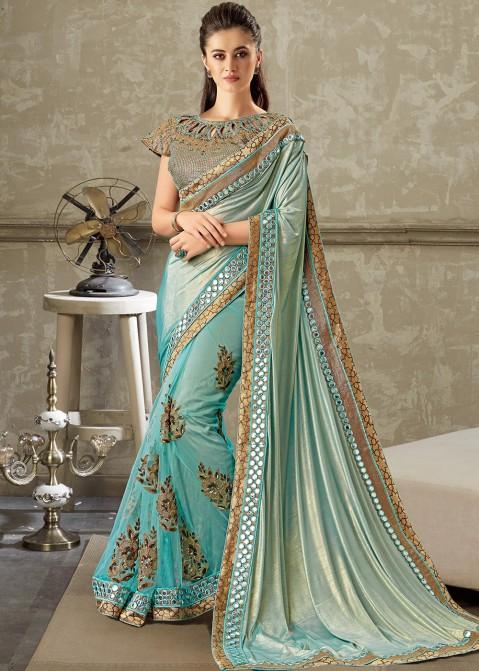 6d254258b0 Turquoise Heavily Embellished Lycra Net Indian Saris Online USA