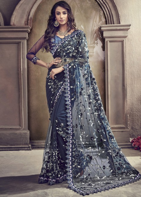 eb15474bc6 Navy Blue Net Embroidered Saree With Blouse Latest 2331SR04