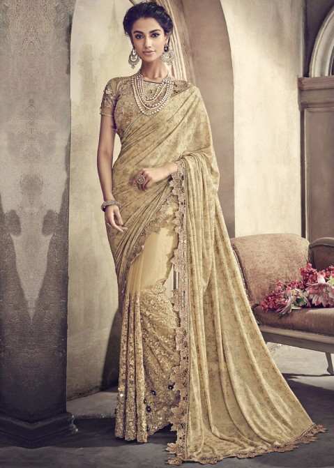 8d9bb998b3 Beige Net Embroidered Saree With Blouse. Beige Net Embroidered Indian Sari  USA With Blouse