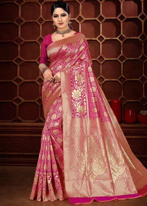 6db881cb48 Buy Pink Woven Banarasi Silk Party wear Sarees Online USA