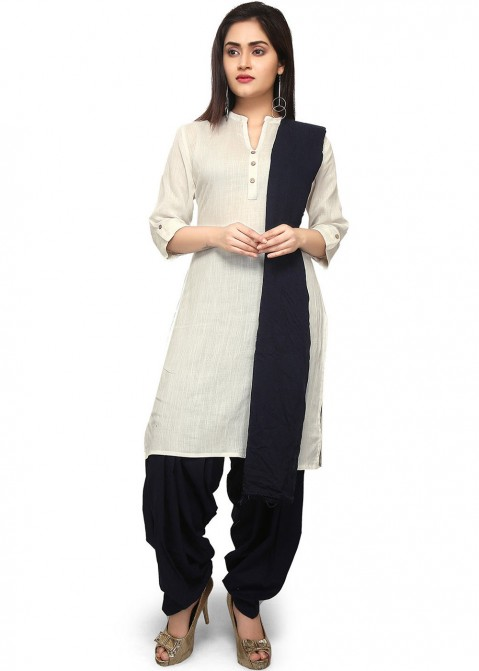 d0ee616756ac Off White Cotton Straight Cut Punjabi Suit 2422SL19