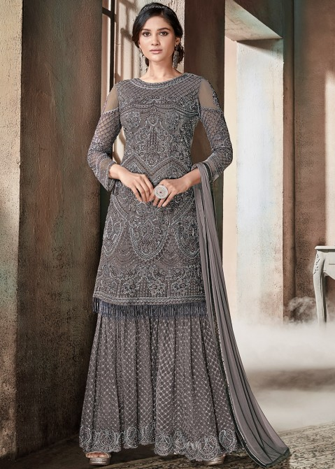 0cd9b521a5 Grey Embroidered Net Sharara Suit 2433SL07