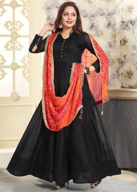 d8bcb800e3 Black Readymade Chanderi Anarkali Suit 2455SL17