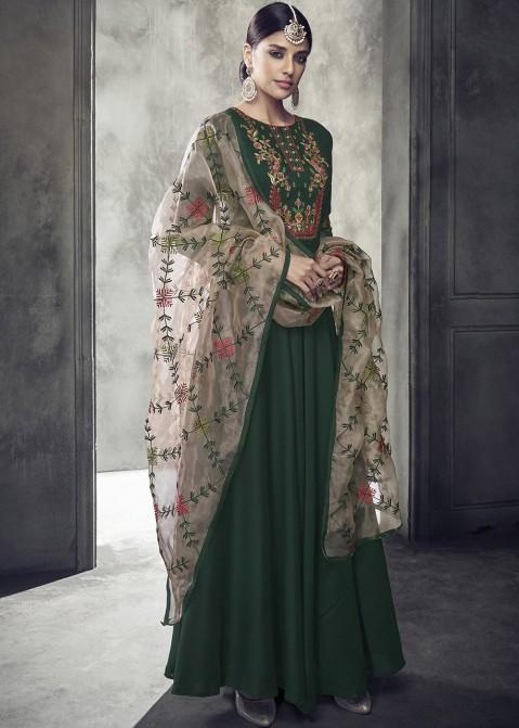 6eb77c48ec Bottle Green Embroidered Abaya Style Suit 2474SL04