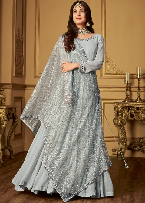 f0f3ded17b Sonal Chauhan Grey Suit With Embroidered Dupatta Salwar Kameez 2492SL04