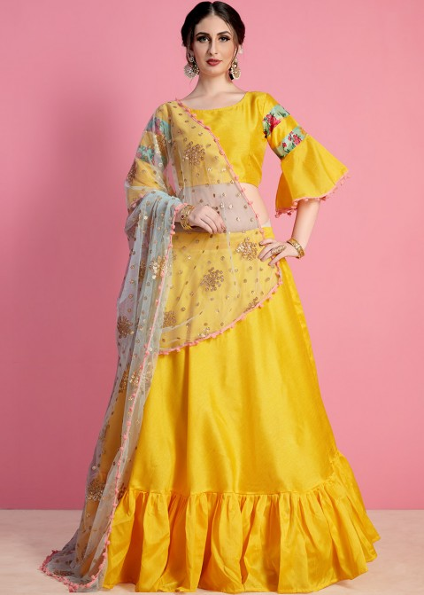 1626f3039f1dd3 Yellow Art Silk Floral Lehenga Choli Online Shopping in USA